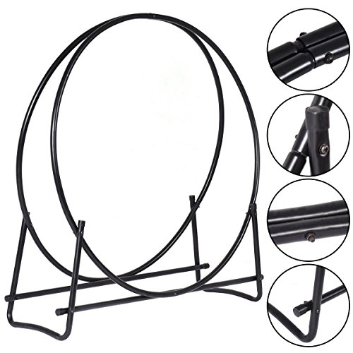 MasterPanel - 40-Inch Tubular Steel Log Hoop Firewood Storage Rack Holder Round Display #TP3284 Onyx Storage Set