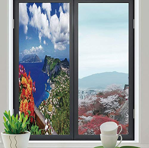- YOLIYANA Decorative Privacy Window Film,Island,for Fome Bedroom Kitchen Office,Scenic Capri Island Italy Mountain Houses Flowers View,24''x70''