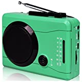 DIGITNOW CassetteTapeToMP3 ConverterViaUSB and Audio To Cassette Recorder,Personal Cassette Mp3 Converter,Cassette Player&Voice Recorder,Wireless AM/FM Radio with Stero Speaker in Earphone(Green)