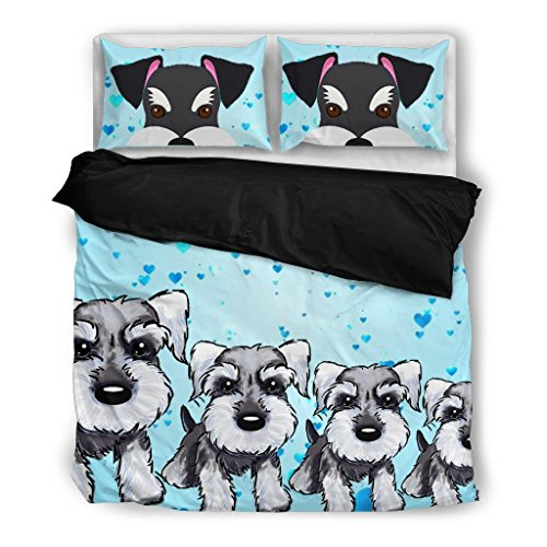Amazing Miniature Schnauzer Print Bedding Set - Dog Lovers Gifts - Custom Cover Print Design Pillow Cases & Duvet Blanket Cover - Pet Gift Ideas