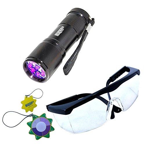 HQRP Lampe de poche 9 LED UV avec longueur d'onde de 365 nm pour l'inspection, contrôle, détection + HQRP Lunettes de protection UV+ HQRP Mètre du soleil