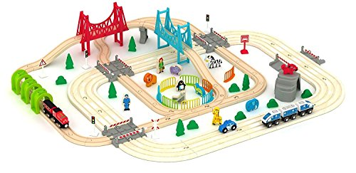Super Fun Wooden Railway Safari Train Set (100+ pcs)