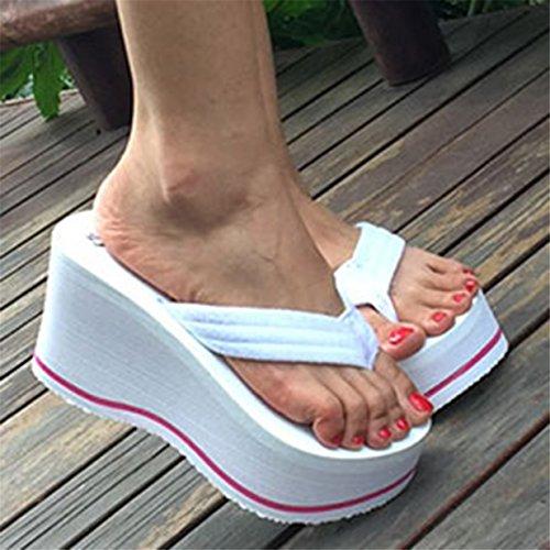 Lalang Damen Plattform Keilabsatz Zehenriemen Sommer Urlaub Flip Flops Sandalen Weiß