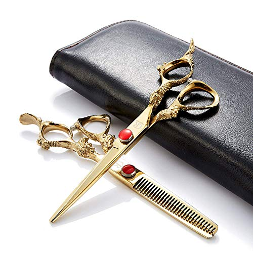 (2pcs/Set Professional Edger 6 Inch Barber Hair Cutting Thinning Razor/Scissors/Shears Kit Sharp With Leather Case-Japan 440c Stainless Steel-Home or Hairdresser Use)