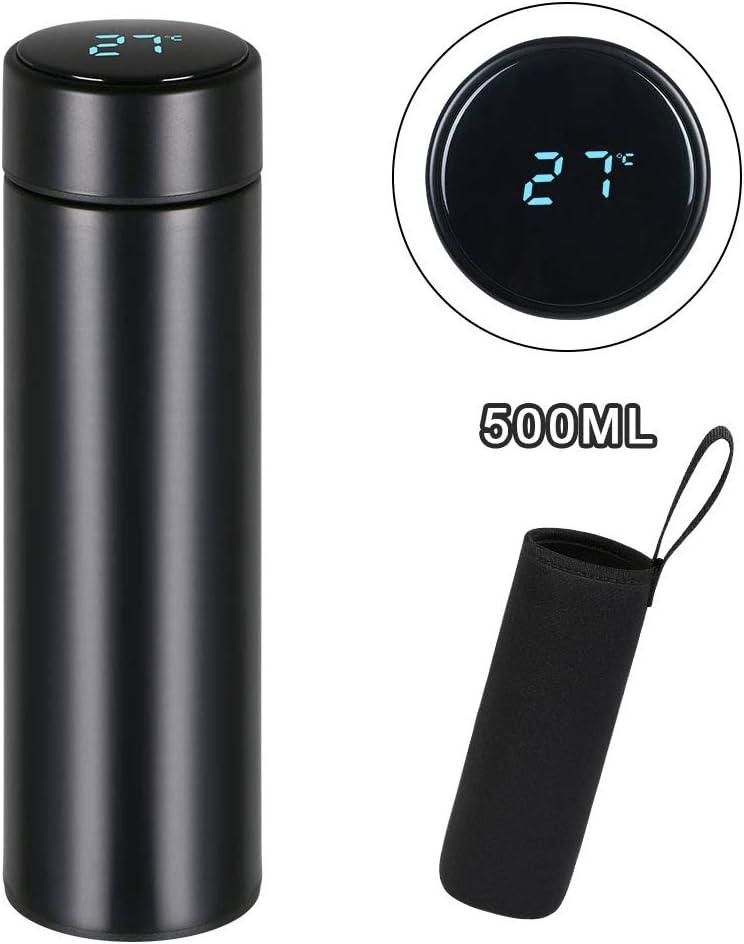 flintronic Taza de Viaje, Termo Taza 500ML Travel Mug, Frasco de Vacío de Acero Inoxidable, Pantalla LED Táctil Inteligente con Temperatura, Térmica de Doble Pared, Aislado al Vacío - Negro