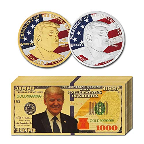 JETTINGBUY 10Pcs USA President Donald Trump 2018 Gold Foil 1000 Dollar Bill Banknote + 2Pcs Official Authentic 24k Gold-Plated Gold Donald Trump Commemorative Coins in Gold and Silver