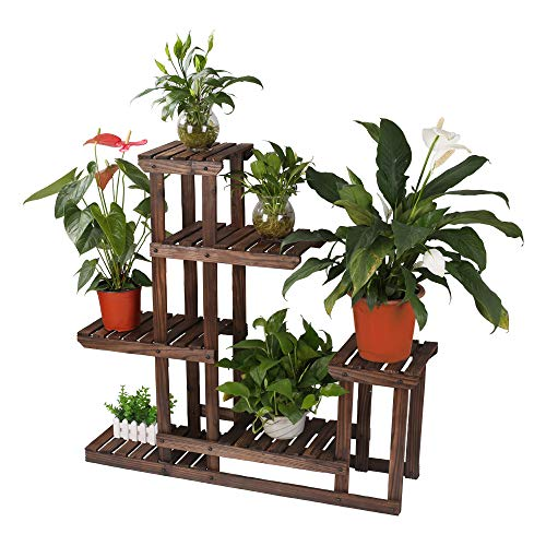 Multi Tier Wood Flower Rack Plant Stand Wood Shelves Bonsai Display Shelf Indoor Outdoor Yard Garden Patio Balcony Multifunctional Storage Rack Bookshelf Rack/Decorative Planter Pot Display Stand Pot