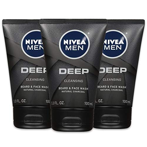 NIVEA Men DEEP Cleansing Beard & Face Wash - With Natural Charcoal to Deeply Clean - 3.3 fl. oz. Tube (Pack of 3)