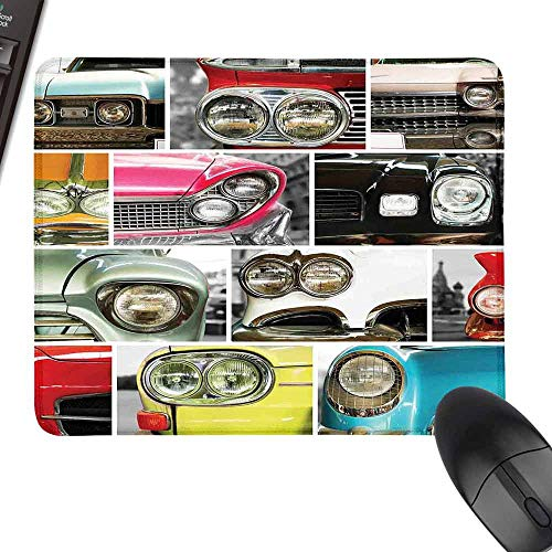 HMdy88PT 1960s Decorations Classic Cars Retro Automobile Collage Bumper and Headlights Classic Old Style City Vehicle Black Mouse padlaptop W12 x27.5
