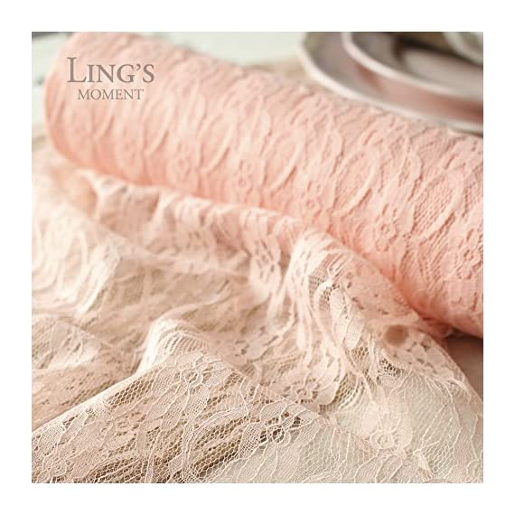 Ling's moment Blush Pink Lace Fabric Ribbon Roll 12 inch x 24 Yards for Burlap Lace Table Runner Boho Vintage Woodland Greenery Wedding Bridal Baby Shower Party Decor Decorations - Material: We use soft touch stretch Nylon Mix Polyester to make it both COMFORTABLE and DURABLE. Size: 12 inches wide by 24 yards long, which could be made into 7 pcs 10-FT table runners. Best choice for budge savvy brides, talented florists, wedding planners/designer, and event decorators to add a touch of elegance, whimsy or a bohemian flair to your CHIC-RUSTIC or GLAMOROUS wedding or other special events. - table-runners, kitchen-dining-room-table-linens, kitchen-dining-room - 513fyYfaq%2BL. SS570  -