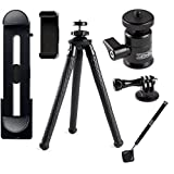 iPhone Tripod - Rugged Edition - With XL Phone Mount | Ball Head | Bluetooth Remote