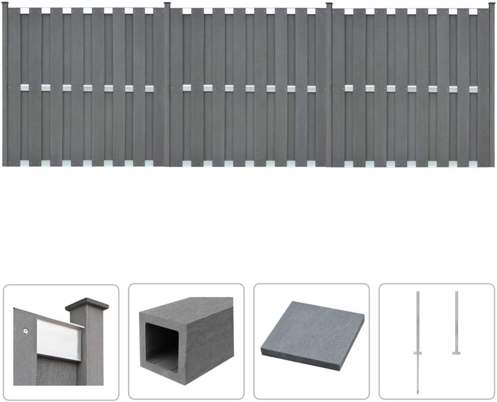 Vidaxl Wpc Zaun Set 562x185cm Grau Sichtschutzzaun Lamellenzaun