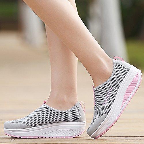 Slip-on Enllerviid Forma Scarpe Da Ginnastica Sportive Leggere Sneakers Moda Piattaforma 1105 Grigio