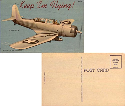Keep 'Em Flying! Vindicator. Curt Teich & Co. U. S. Air Corps Series AC-9. Linen. Unused.