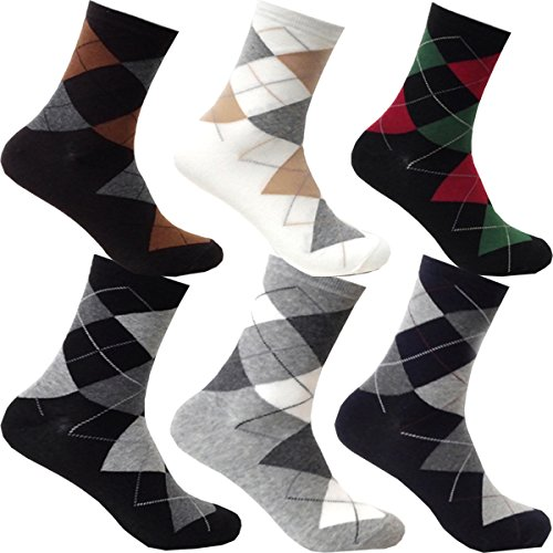 myglory77mall 6Pairs Mens Patterned Variety Style Fashion Cotton Casual Socks (Type12) by myglory77mall