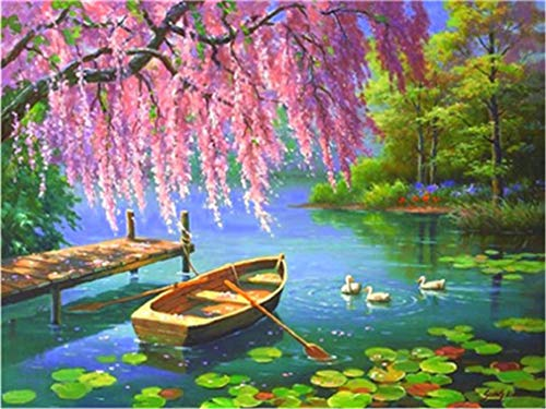 YEESAM ART DIY Paint by Numbers for Adults Beginner Kids, Boat and Ducks in The Lake 16x20 inch Linen Canvas Acrylic Stress Less Number Painting Gifts (Boat, Without Frame)