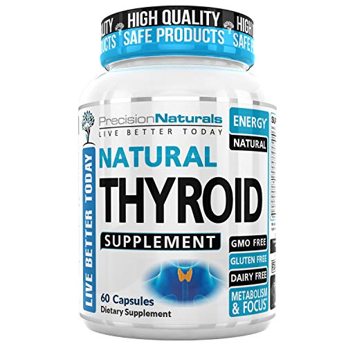 Thyroid Support Supplement W/Iodine(Kelp) Energy Metabolism Focus Best Natural Formula 60 Capsules Vitamin Complex Ashwagandha B12 Zinc Selenium Copper Tyrosine Magnesium Bladderwrack Non GMO