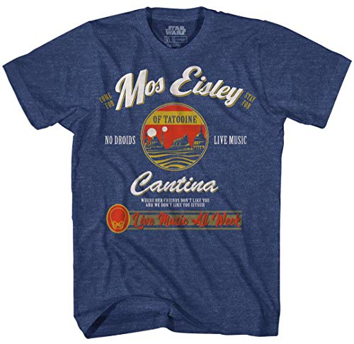 Star Wars Mos Eisley Cantina Tatooine Men's Adult Graphic Tee T-Shirt (Navy Heather, Large)