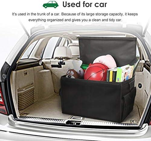 Tragbar Wasserdichter Feuchtigkeitsschutz Auto Kofferraum Organizer Autotasche f/ür PKW SUV BYCDD Kofferraumtaschen f/ür die Ladungslagerung mit Deckel LKW,Black/_25x34x27CM