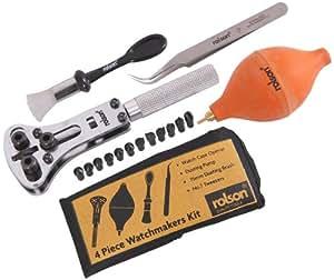 Rolson Tools 59230 - Kit de reparación y cuidado de relojes (4 piezas)