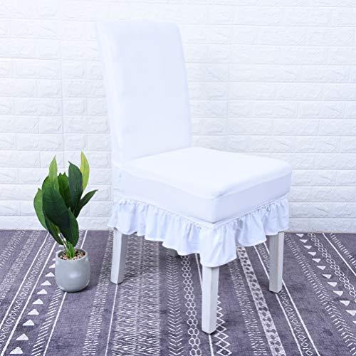 YURASIKU Solid Chair Skirt Chair Slipcover, 2PCS White Polyester Anti-Slip Chair Cover Seat Protector for Home Reasorant Wedding