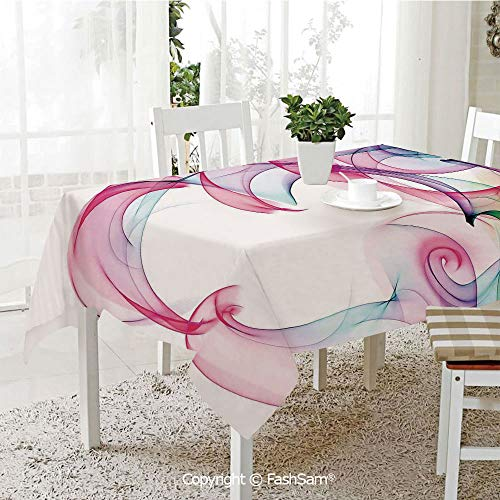 FashSam 3D Dinner Print Tablecloths Colorful Smock Artwork Contemporary Creative Decorating Futuristic Decorative Tablecloth Rectangle Table Cover for Kitchen(W55 xL72)