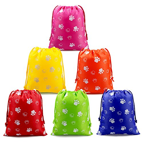 Paw Party Supplies Favors Bags Drawstring Pouches for Kids Boys Girls Toddlers Birthday Party Favors 6 (Halloween Kid Class Party Ideas)