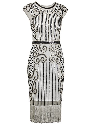 Vijiv 1920s Vintage Inspired Sequin Embellished Fringe Long Gatsby Flapper Dress,Silver White,Medium