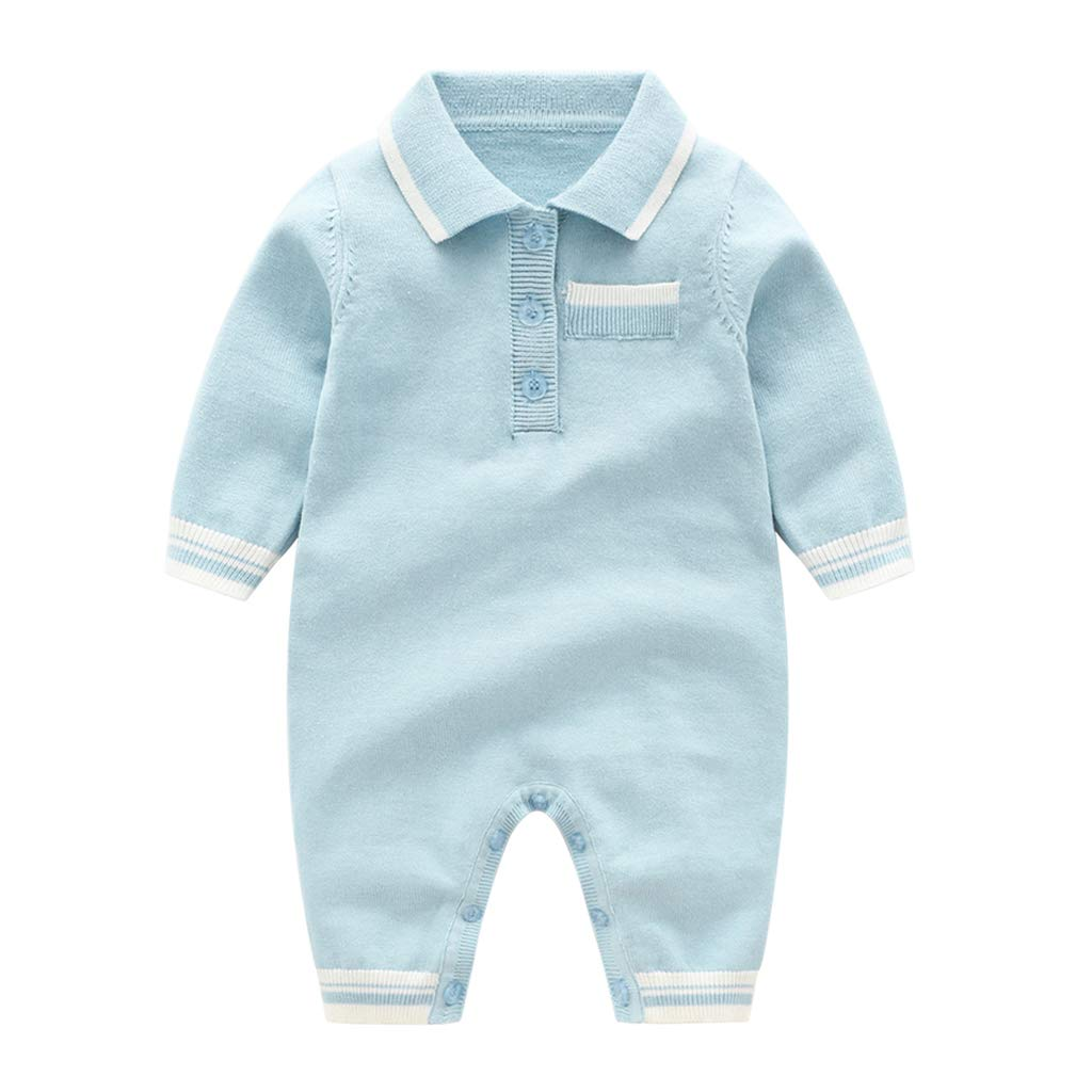 Baby Romper Polo Jumpsuit Knitting Bodysuit Onesies Sweater Outfits 3-6 Months