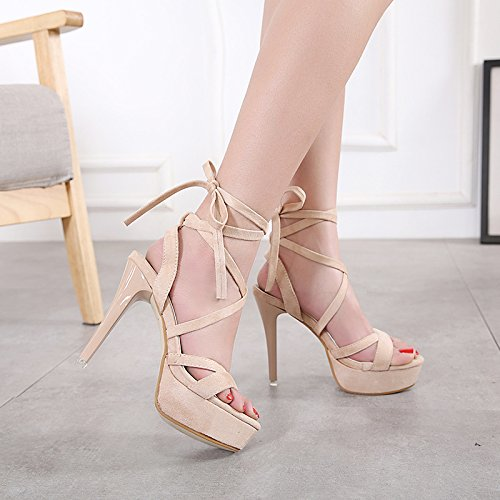 AGECC Super High Heels 12 Cm Night Stage Waterproof Table Strap and Professional Toe Toe Sandals. Apricot color