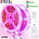PANGTON VILLA Led Strip Lights 32.8ft 10m, High Brightness Multicolor 5050 RGB with 24 Keys IR Remote and 12V 3A Power Supply, for Christmas, Halloween, Home, Kitchen DIY Decoration