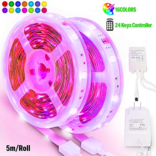Large Product Image of PANGTON VILLA Led Strip Lights 32.8ft 10m, High Brightness Multicolor 5050 RGB with 24 Keys IR Remote and 12V 3A Power Supply, for Christmas, Halloween, Home, Kitchen DIY Decoration