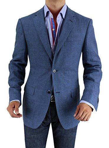 Bianco B Men's Two Button Linen Blazer Modern Fit Jacket (44 Regular US / 54 Regular EU, Blue Check)