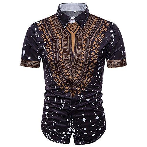 Sumen Men Dress Shirts,African Print Long Sleeves Slim Fit Dashiki Shirt (M, Z-Black) ()