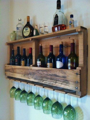(Great Lakes Pallet Wine Rack, Reclaimed Wood, Wine Storage (Golden Oak) )