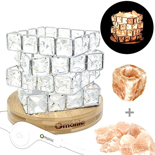 Series Table Base (Maymii.Home Omonic Series Luxury Crystal Basket Pink Hymilian Himalayan Sea Salt Crystal Chunks Table Desk Lamp Light Nightlight With Touch Dimmer Switch Control Bamboo Base and Candle Holders Set)