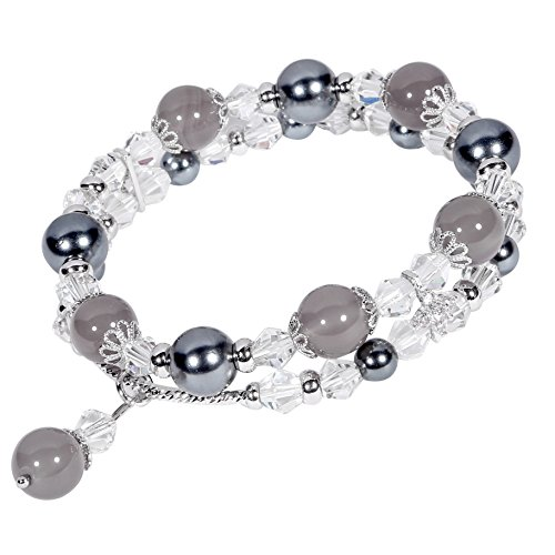 Double Faux Pearl Bracelet (Beaded Bracelet Handmade Faux Pearl Crystal Natural Stone Elastic Chain Rhinestone Charm Bracelets Hair Rope Decoration for Women Teen Girls Perfect Valentine Gift Packaging (Grey & Double Row))