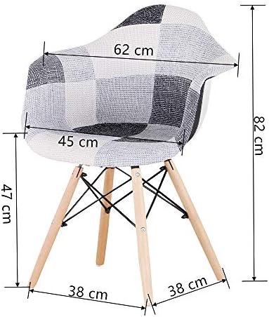 6666 2 Chaises de Salle à Manger avec Accoudoirs Housse en Tissu Patchwork pour Salle à Manger Bureau Salon Rouge Patchwork chaises (Noir)