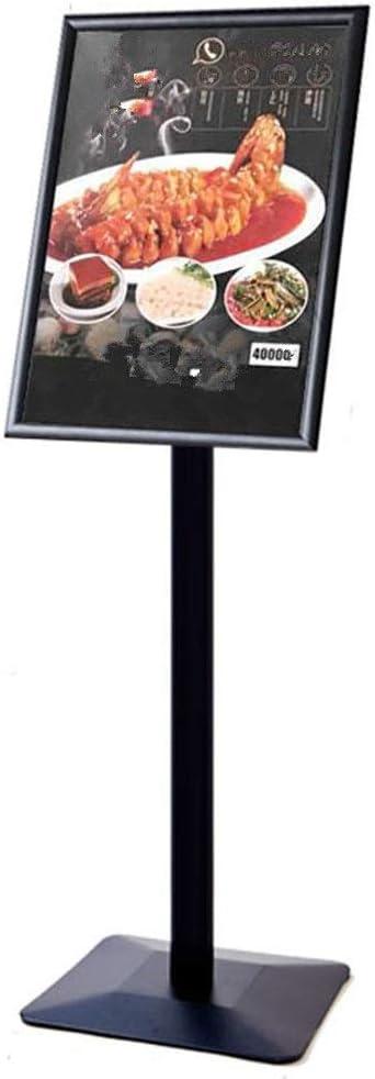 案内板 ポスタースタンド調節可能なアルミ合金フロアディスプレイスタンドフレームポスターボード交換可能な広告ラックサインスタンド頑丈な金属ベース、ブラック (色 : ブラック, サイズ : 42 x 130cm)