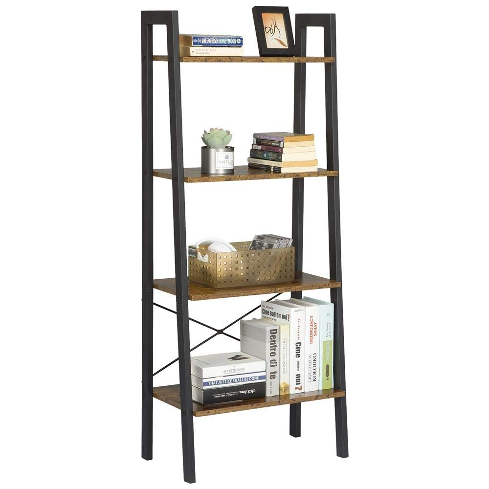 Yaheetech Industrial Storage Ladder Shelf, 4 Tier Bookshelf Rack Shelves, Multifunctional Plant Flower Display Stand, Easy Assembly, Wood Look Accent Home Office Furniture, Rustic Brown by Yaheetech