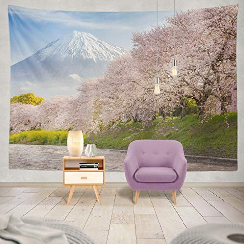 Summor Tapestry Beautiful Mountain and Sakura Cherry Blossom Japan Spring Season Hanging Tapestries 60 x 80 inch Wall Hanging Decor for Bedroom Livingroom Dorm