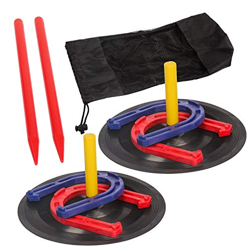 Horseshoes Game Safety Rubber Horseshoe Set Durable Light Weight Horse Shoes Toss Game Toy for Kids Camping Yard Lawn Outdoor Sports ()