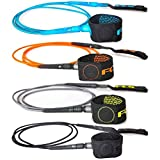 FCS Freedom Series Surfboard Leash - 6' feet - High Tensile Over-Braided Nylon Cord - Multiple Colors Available