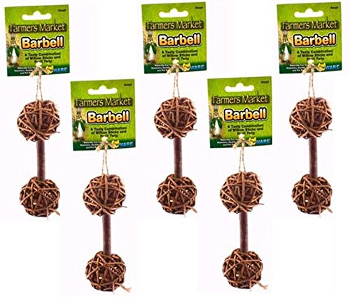 Ware Natural Woven Willow Small Pet Barbell Chew, Small (5 Pack) by Ware Manufacturing