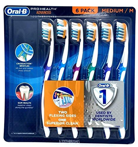 Oral-B Pro-Health Advanced Toothbrushes 6/Pack Medium/M Two Flexing Sides