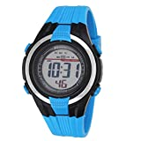 Ravel LCD Digital Water Resistant Sports Boy's Digital Watch with Black Dial Digital Display and Blue Plastic Strap RDB-16