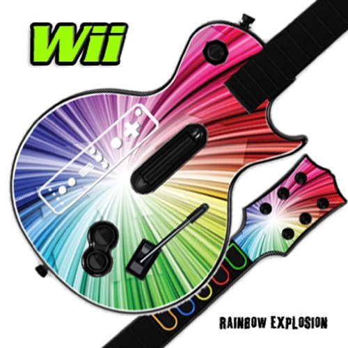 Nintendo Wii Guitar Hero Faceplates (Mightyskins Skin Decal Cover for GUITAR HERO 3 III Nintendo Wii Les Paul - Rainbow Explosion)