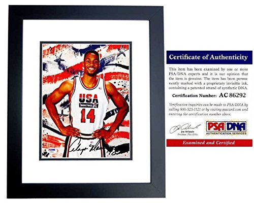 Alonzo Mourning Autographed Signed 1996 USA Dream Team II 8x10 Photo Black Custom Frame - PSA/DNA Authentic - 2006 NBA Championship with Miami Heat