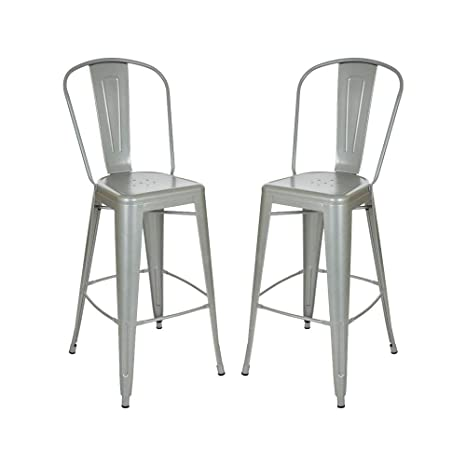 Awesome Glitzhome Vintage Metal Counter Bar Stools Silver Set Of Two Alphanode Cool Chair Designs And Ideas Alphanodeonline