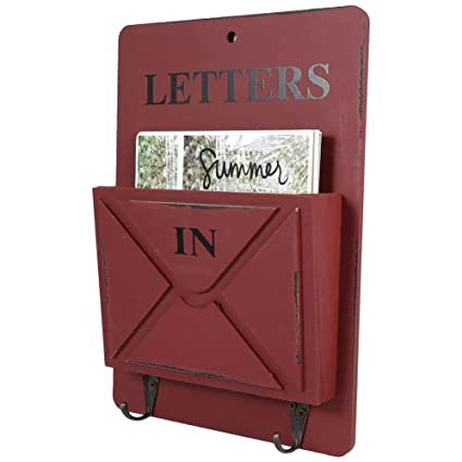 Amazon.com: Asixx Letter Rack, Wood + Iron Material Mail Box ...